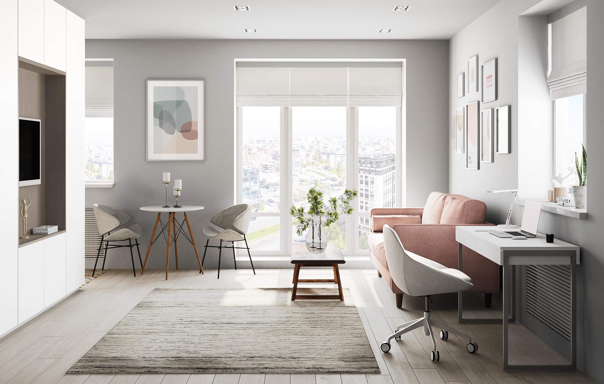 «Rose Antique» Интерьер квартиры-студии
